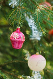 Pink ball and house christmas decoration Royalty Free Stock Image