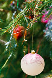 Pink ball and red ball christmas decoration Stock Photo