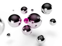 Pink ball. Steel balls surrounding a small pink sphere royalty free illustration