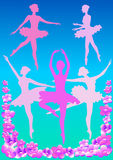 Pink ballerina. Pink silhouettes of dancers and apple flowers on a cold background Stock Photos