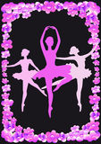Pink ballerina. Pink silhouettes of dancers and apple flowers on a black background Royalty Free Stock Image