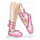 Pink Ballerina Shoes. Ballet Pointe Shoes With Ribbon. Stock Photos