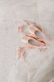 Pink ballet pointe shoes and tutu on white wood background Stock Photo