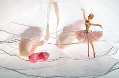Pink the ballet shoes pointe and dancing in ballerina doll Royalty Free Stock Photo