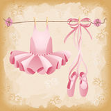 Pink ballet slippers and tutu background Royalty Free Stock Photos