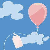 Pink balloon. Onblue sky with place for your text Stock Image