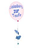 Pink balloon with blue baby's socks and soother, invitation, bap Royalty Free Stock Image