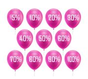 Pink balloon discount. Set of 11 inflatable helium balls with different digits discounts - from 5 to 100 percent. Image for sites, stores, mobile apps. Vector Royalty Free Stock Photos