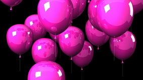 Pink Balloons On Black Background stock video footage