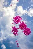 Pink balloons in a blue sky Stock Images