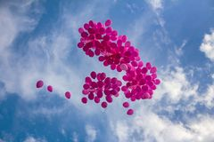 Pink balloons in a blue sky royalty free stock photography
