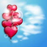 Pink balloons on a blue sky. Valentine`s day illustration Stock Photo