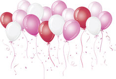 Pink balloons floating against white Royalty Free Stock Photography