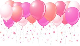 Pink balloons flying up royalty free illustration