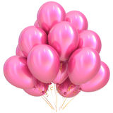 Pink balloons happy birthday party decoration glossy Stock Photo