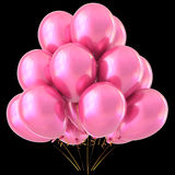 Pink balloons happy birthday party decoration glossy Stock Image