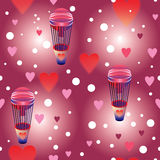 Pink balloons with hearts seamless repeatable pattern Stock Photo