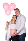 Pink balloons for pregnant woman Royalty Free Stock Photos
