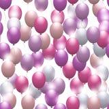 Pink balloons. Seamless festive pattern. Vector. Illustration Stock Image