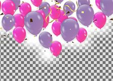 Pink balloons, vector illustration. Confetti and ribbons, Celebr. Ation background template Royalty Free Stock Photo