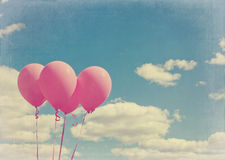 Pink balloons with vintage editing Royalty Free Stock Photography