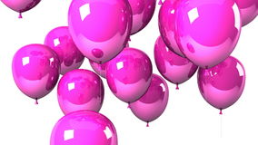 Pink Balloons On White Background stock footage