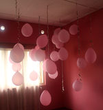 Pink Baloons. Birthday decor at home stock photography