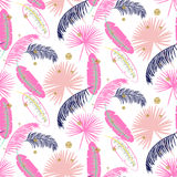 Pink banana palm leaves purple seamless vector pattern. Royalty Free Stock Photography