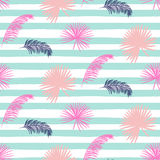 Pink banana palm leaves striped blue seamless vector pattern. Stock Images