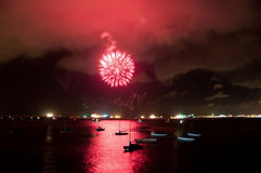 Pink Bang!. A firework display on Gibratlar National Day in the Bay of Gibraltar Royalty Free Stock Photos