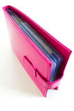 Pink bank book holder, leather bag Royalty Free Stock Photos