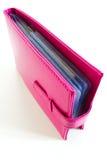 Pink bank book holder, leather bag. Pink bank book holder, Pink leather bag Royalty Free Stock Photos