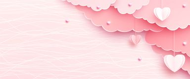 Pink banner background in papercut realistic style. Paper clouds, heart on string, pearls, light line texture. Love