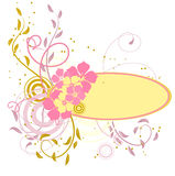 Pink banner with flowers Stock Photo