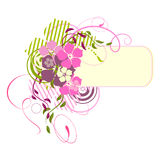 Pink banner with flowers Royalty Free Stock Photography