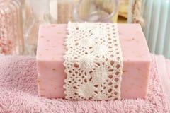 Pink bar of natural handmade soap Stock Photo