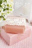 Pink bar of natural handmade soap Royalty Free Stock Photos