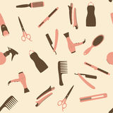Pink Barber Shop Seamless Vector Pattern. Stock Images