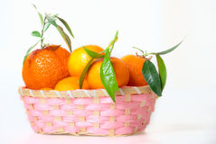 Pink basket with tangerines Royalty Free Stock Image