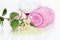Pink bath accessories Stock Photos