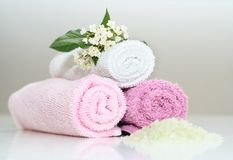 Pink bath accessories Stock Photo