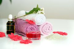 Pink bath accessories stock image
