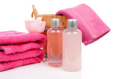 Pink bath accessory for sauna or spa. Over white background Stock Images