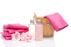 Pink bath accessory for sauna or spa. Over white background Royalty Free Stock Photography