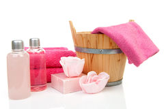 Pink bath accessory for sauna or spa Stock Images