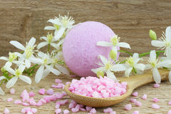 Pink bath bomb and bath salt Stock Images