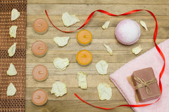 Pink bath bomb and terry cloth towel  and soap Stock Image