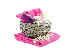 Pink bath products in a basket Royalty Free Stock Image