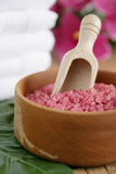 Pink bath salt Royalty Free Stock Images
