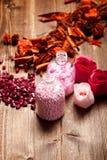 Pink bath salt Royalty Free Stock Images